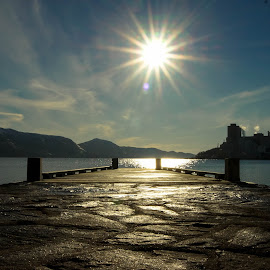 Short pier by Trond Strand - Buildings & Architecture Other Exteriors ( water, sky, winter, cold, pier, stavanger, sun, norway,  )