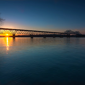 Bridge over the Tennessee River by Clifton Billingsley - Buildings & Architecture Bridges & Suspended Structures ( water, blue, sunset, bridge, tennessee_river, river )
