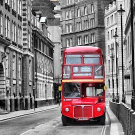London Bus by Helen Parker - City,  Street & Park  Street Scenes ( england, uk, red, iconic, black and white, transport, wheels, london bus, double decker )