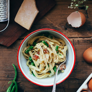 Fettuccine Carbonara With Green Beans