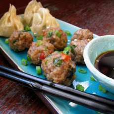 Steamed Pork Balls and Spring Onions ( Green Onions)