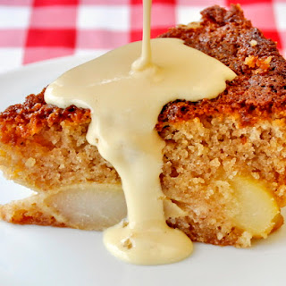 Pear and Almond Cake with Creme Anglaise