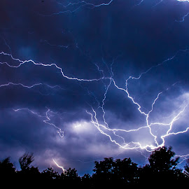 Lightning by Jeff Johnson - Landscapes Weather ( sky, lighning, blue, weather, artists and writers )