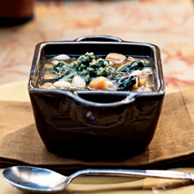 Sweet Potato and White Bean Soup with Sage-Walnut Pesto
