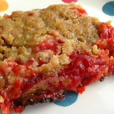 Strawberry Rhubarb White Chocolate Crisp