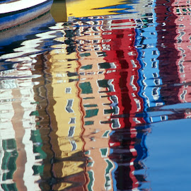 Burano boat and building reflections by Gale Perry - Abstract Patterns (  )