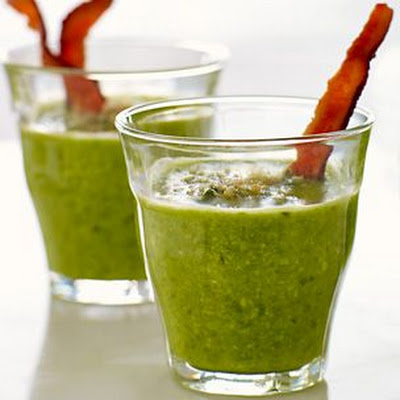Spring Pea Soup with Bacon Bread Crumbs