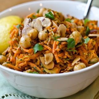 Carrot and Chickpea Salad with Fried Almonds
