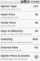 Screenshot of Options Calculator