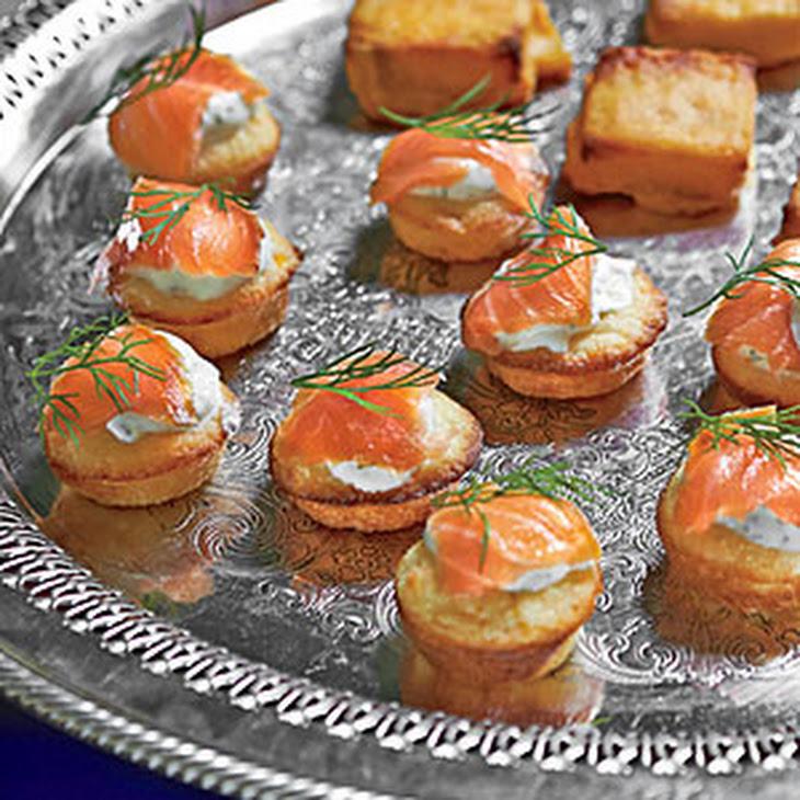 Mini Corn Cakes with Smoked Salmon and Dill Crème Fraîche Recipe ...