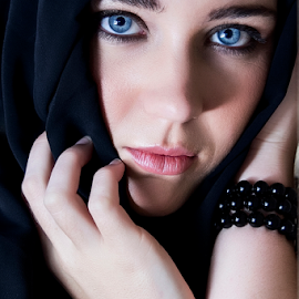 Blue eyes by Wendy Van Zyl - People Portraits of Women ( hands, beautiful girl with blue eyes, shy girl, blue eyes, bangles, scarf )