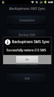 Screenshot of Backuptrans SMS Sync