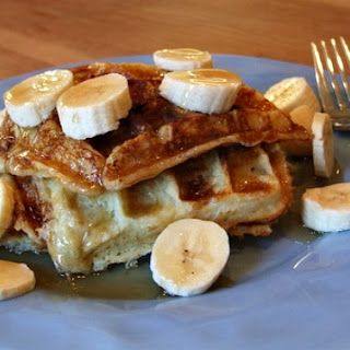 Banana Sour Cream Waffles with Warm Maple- Honey Syrup