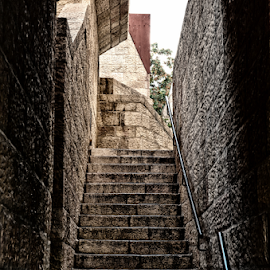 Alley in the old city by Isaac Gershon - City,  Street & Park  Neighborhoods ( jerusalem, stairs, old city, lane, alley )