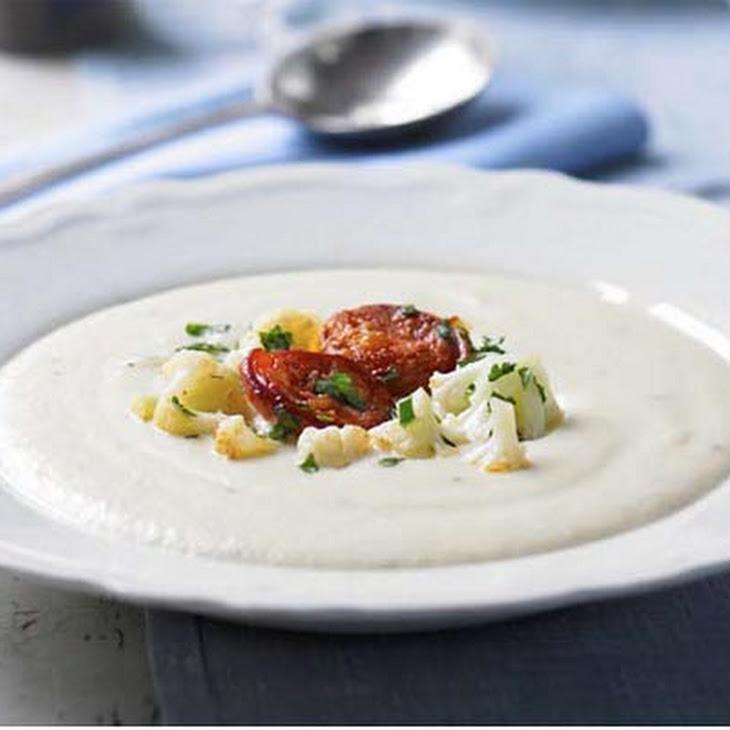 Potage Dubarry with crisp chorizo (Creamy cauliflower soup)
