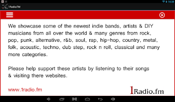 Screenshot of 1Radio.FM for Android Tablets