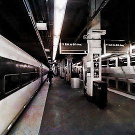 Train by Tricia Scott - Digital Art Places ( person, subway, amtrak, train, transportation, underground, business, city )