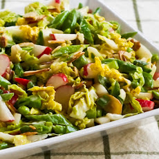 Crunchy Napa Cabbage Asian Slaw with Sugar Snap Peas, Radishes, Almonds (and Cilantro?)