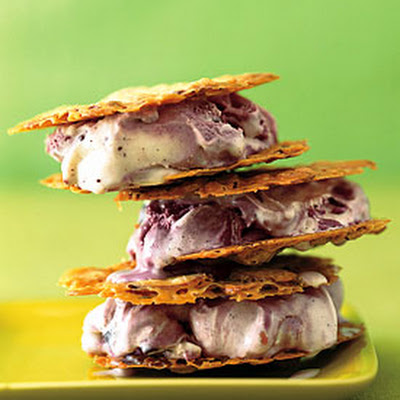 Almond Florentine and Black Raspberry Chip Ice Cream Sandwiches