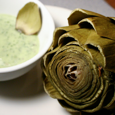 Steamed Artichokes with Eggless Basil Mayonnaise Dip