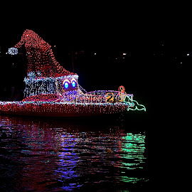 Christmas Boat by Richard Timothy Pyo - Transportation Boats