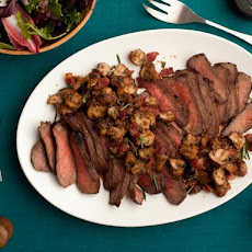 Balsamic-Marinated Steak and Unstuffed Mushrooms