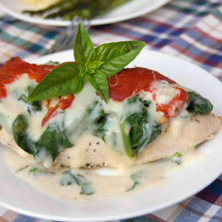 Chicken Breasts w/ Mozzarella, Spinach & Roasted Red Pepper