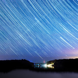 Star Trail 2 by Sanjay Chauhan - Landscapes Beaches ( night photo, night photography, stars, star photography, star, lake muskoka, lake, long exposure, star trails, boat )