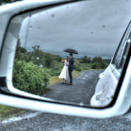 Wedding in the rain by Johann Pall Valdimarsson - Wedding Bride & Groom