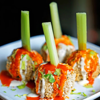 Crunchy Buffalo Chicken Meatballs with Bleu Cheese Drizzle