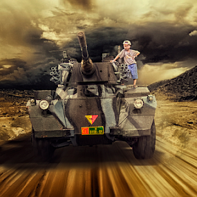 Style Of War by Wiji Yudhi - Digital Art People ( child, army, pose, children, digital, tank )
