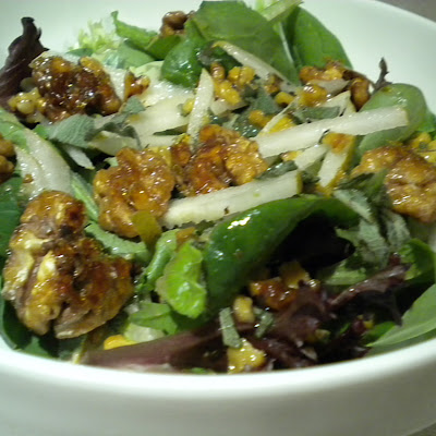 Asian Pear Salad with Honeyed Walnuts and a Sage and Walnut Dressing