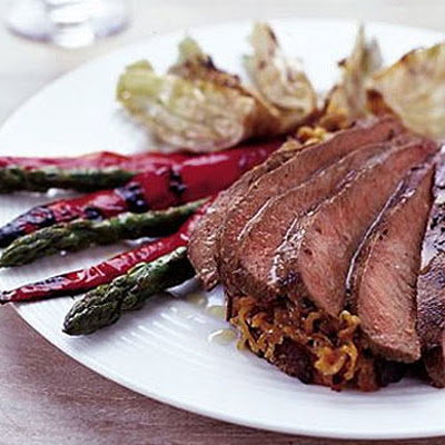 Marinated Barbecue Lamb With Shallot Marmalade, Served With Griddled Vegetables