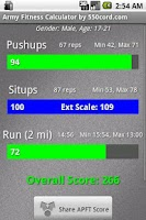 Screenshot of Army Fitness Calculator