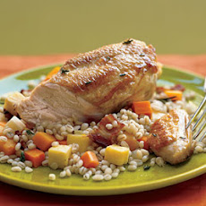 Herb-Basted Chicken with Pearl Barley, Bacon, and Root Vegetable Pilaf