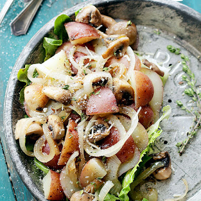 Dijon Potato Salad with Mushrooms and Onions