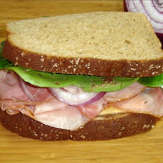 Ham and Spinach Sandwich With Raspberry