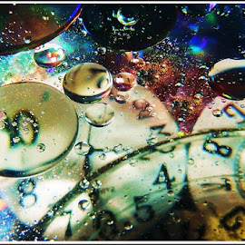 Bubbles in Time by Kathy Hancock - Abstract Macro ( water, macro, time, abstracts, bubbles, clocks )