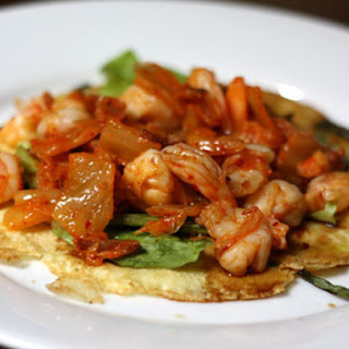 Korean Scallion Pancake with Shrimp, Bacon, and Kimchi
