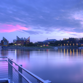 Chattanooga Riverfront by Jermaine Pollard - Landscapes Waterscapes ( chattanooga, water, reflection, purpe, park, tennessee, dusk, city, lights, sunset, pier, night, pink, coolidge )