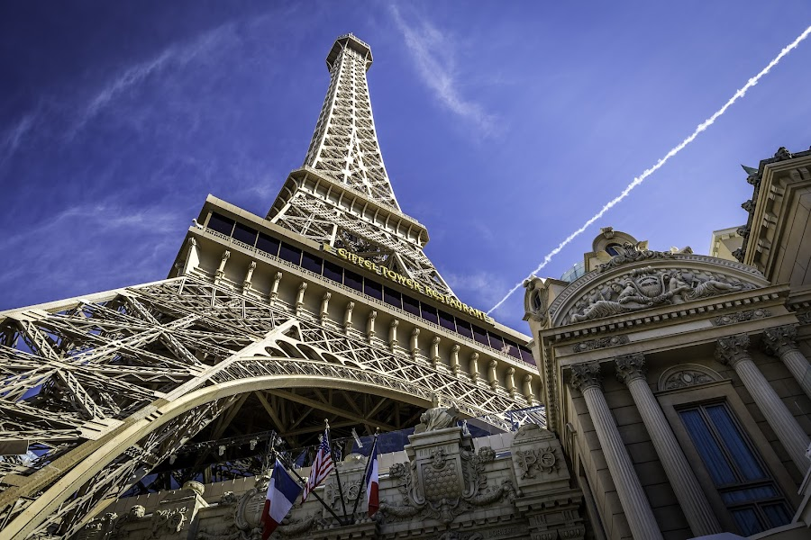 Eiffel Tower Restaurant  by Clifford Swall - Buildings & Architecture Architectural Detail ( las vegas, eiffel tower, blue sky, eiffel tower restaurant, las vegas strip )