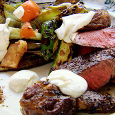 Steak With Grilled Vegetables And Cumin Yoghurt