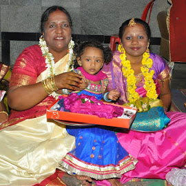 Me, My lovely Mom and My sister daughter Druthi by Divya Anu - Wedding Groom