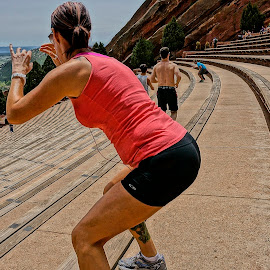 Working Out at Red Rock by Barbara Brock - Sports & Fitness Fitness ( amphitheater, fitness, exercise, bleachers, woman fitness, workout )