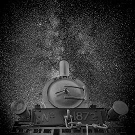 Late Night by Agha Ahmed - Transportation Trains ( milkyway, railway, vintage, railroad, locomotive, steam train, train )