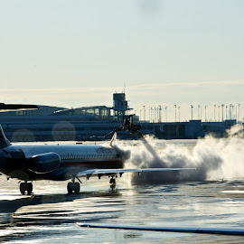 Jet wash by Yu Tsumura - Transportation Airplanes ( airport, airplane, wash, jet, rain )