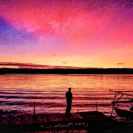 milky way in the sunset sky by Jeff Epp - Digital Art Places ( kawartha lakes district, summer vacation, canada, cottage country, stars, sunset, layers, vivid, vibrant, sun, photoshop, milky way )