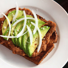 Toast With Refried Beans and Avocado (Vegan)