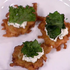 Crispy Potato Cakes with Farmer Cheese, Scallion, Black Pepper and Kale Chips