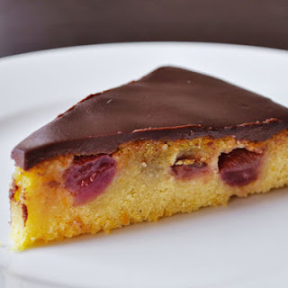 Olive Oil Cake with Roasted Grapes & Chocolate Ganache